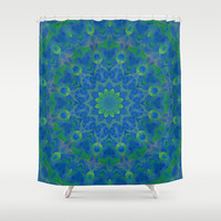 Bluegreen therapy art - Serenity mandala Shower Curtain by Giada Rossi