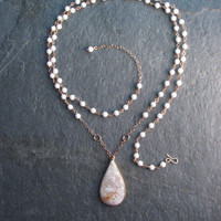 Long Beaded Chain Crazy Lace Agate Pendant Necklace - 33 - 35 Inches Long - Modern Romance Collection