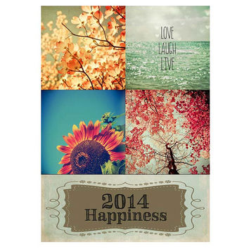 2014 Nature Calendar / mini calendar / desk calendar / flower photo /gift for her / modern vintage / stocking stuffer / FREE SHIPPING to USA