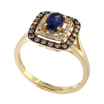 Effy Royale Bleu 14Kt. Yellow Gold Sapphire Ring with Brown and White Diamonds