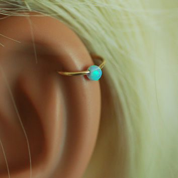 Cartilage Earring, tiny opal gold hoop, gold cartilage Hoop Earrings, 14K Gold Filled, tiny hoops