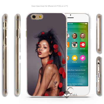 hd78 rihanna pop music celebrity Hard Transparent Clear Case Cover Coque Shell for iPhone 4 4s 5 5s 5c 6 6 Plus