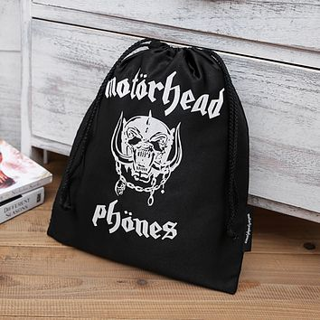 Rock Metal Band Motorcycle Head Letter Print Nylon Drawstring Storage Bag