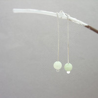 Dainty long drop earrings, Dangle minimalist earrings, Sterling silver semi precious stone beads, Everyday jewelry