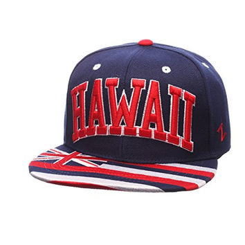 "Zephyr Country Flag Adjustable Soccer ""Superstar"" Snapback Cap - Flat Bill Zephyr Baseball Hat (Hawaii USA)"