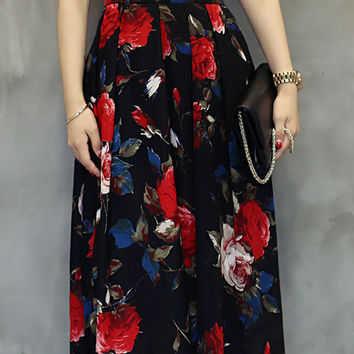 Multicolor Floral Print High Waist Slit A-Line Pleated Midi Skirt