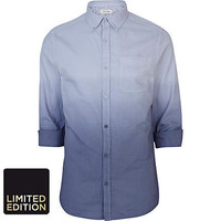 Blue dip dye roll sleeve Oxford shirt - roll sleeve shirts - shirts - men