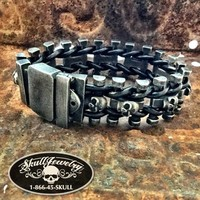 'Hold the Line' Black Stainless Steel & Black Leather Bracelet (864)