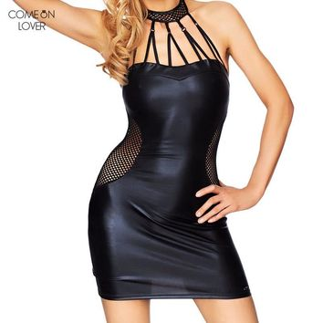 Comeonlover Crochet Vestido Plus Size Black Dress Self Portrait Bodycon Vestidos De Verao Halter Summer RT80454 Leather Dress