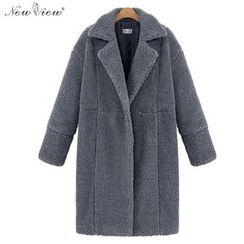 Coat Women Winter Spring Autumn Long Style Outerwear Turn Down Collar Ladies Cashmere Wool Coats Double Breasted Plus Size XL