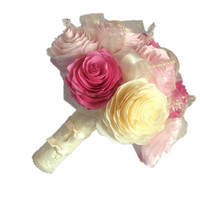 Romantic Peony bouquet, Pink and Ivory Wedding bouquet, Lace & ribbon bouquet, Paper Peony Bouquet, Pink Toss bouquet, Shabby chic bouquet