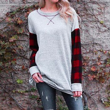 Women Plaid Patchwork Loose Long Sleeve T-Shirt O-neck Pullover Blouse Tops