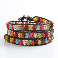 Colorful Skull Wrap Bracelet