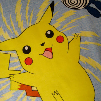 Pokemon Pillowcase Pikachu Fabric Nintendo 1998 Standard Size Pillowcase Girl Bedding Boy Kids Bedding Decor Fabric Clean Used