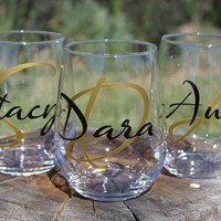 Set of 3 Personalized Stemless Wine Glasses - Wedding Party Gifts - Girls Weekend - Bachelorette Party -Bridesmaid Gifts