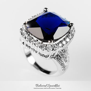 Dalphine Sapphire Cushion Cut Cocktail Statement Ring | 21 Carat | Cubic Zirconia