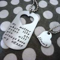 Personalized Dog Tag Necklace His and Hers Set - Hand Stamped Stainless Steel