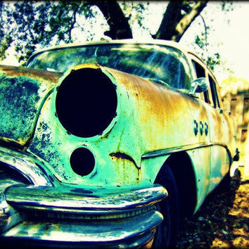 Lights Out Vintage Teal Photography Art Car by awpphotography