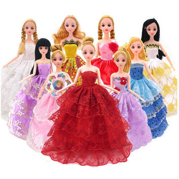 Fashion Doll Clothes Doll Accessorie Wedding Dress Clothing Gown Princess Outfit Clothes For Doll 5 Pcs set Toys For girls Kid