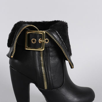 Bamboo Faux Fur Cuff Buckle Strap Heeled Ankle Boots
