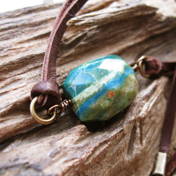 Peruvian Opal leather necklace, boho choker, turquoise blue green gemstone