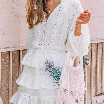 Tuscan Ruffled Lace Dress