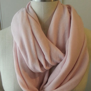 Infinity Scarf Cashmere Pastel Blush Sweater Knit Chunky Shawl Solid Sheer