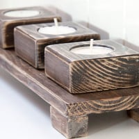 Christmas Candle Holders Walnut Set with by ArtGlamourSligo