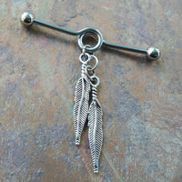 Tribal, bohemian, feathers Industrial/Scaffold barbell 14 gauge stainless steel body jewelry