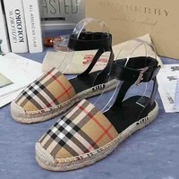 Burberry New fashion sandals plaid canvas single shoe Khaki