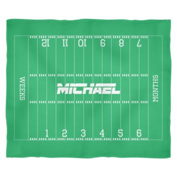 Personalized Football Monthly Milestone Baby Blanket - Cute Baby Shower Gift for Baby Boy