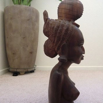 African Wood Carving, Himba Female Bust Nude, Mid-Century Sculpture 20 Inches, Tribal Home Design