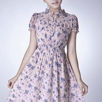 Kawaii Lolita Flowers Slim Fit Short Sleeve Chiffon Dress - M L XL from Tobi's Finds