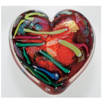 Red Love Heart of Fire Hand Blown Glass Paperweight 4L