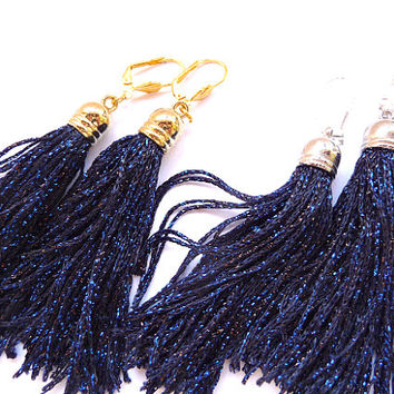 Tassel Earrings, Long Tassel Earrings, Fringe Earrings, blue tassel earrings, boho tassel earrings, boho earrings, deep blue earrings, navy