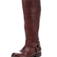 Frye Women's Antiqued Phillip Harness Tall Boot - Dark Brown