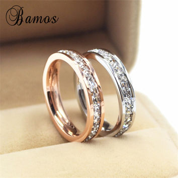 Female Girls Geometric Ring 925 Sterling Silver Filled & Rose Gold Ring Promise Wedding Engagement Rings For Women Best Gifts