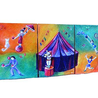 Series of three original oil paintings for kids room. Nursery wall art. Circus surreal art in orange and green, purple and red. Ooak.