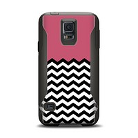 The Solid Pink with Black & White Chevron Pattern Samsung Galaxy S5 Otterbox Commuter Case Skin Set