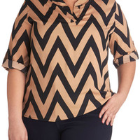 Le Frequency C'est Chic Top in Plus Size | Mod Retro Vintage Short Sleeve Shirts | ModCloth.com