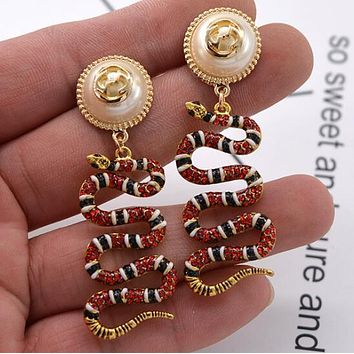 """GUCCI"" Classic Stylish Women Retro Chic Pearl Snake Pendant Earrings Accessories Jewelry"