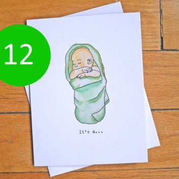 Baby Announcement - It's Baby, Boy, Girl - Cute Card - Swaddled Baby