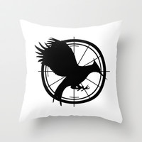 Catching Fire MockingJay  Throw Pillow by Lauren Lee Designs