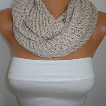 Infinity Scarf Shawl Circle Scarf  Loop Scarf  Gift  Beige Scarf - fatwoman - chunky infinity scarf
