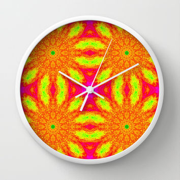 Hot Pink Sunburst Flowers Wall Clock by 2sweet4words Designs   Society6