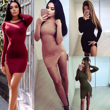 Sexy Side Slit Long Sleeve Scoop Bodycon Short Dress