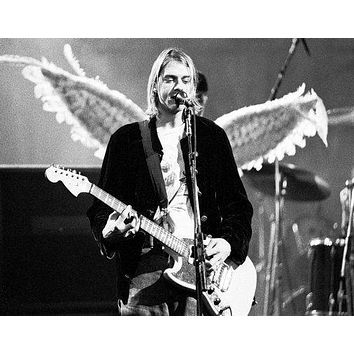 Kurt Cobain poster Metal Sign Wall Art 8in x 12in Black and White