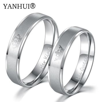 Cool YANHUI King and Queen Gold Filled Ring Couple Wedding Band Set Anniversary Engagement Promise Ring Lovers Fashion Jewelry 2018AT_93_12