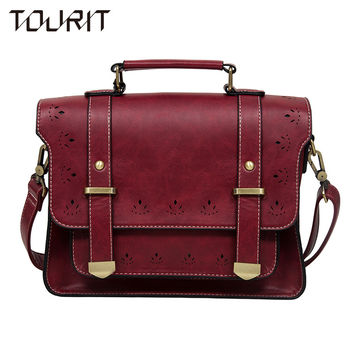 TOURIT 2017 New Women PU Leather Messenger Bag Vintage Women Satchel Bag Leather Briefcase Handbag Bag Crossbody Bag