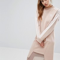adidas Originals Three Stripe Sweat Dress With Drop Hem at asos.com